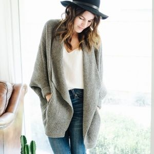 Madewell Sculptor Cardigan Sweater Grey Pockets